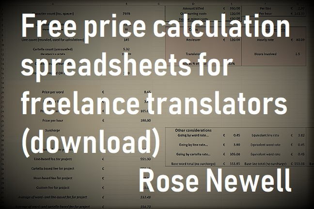 Free price calculation spreadsheets for translators (download)